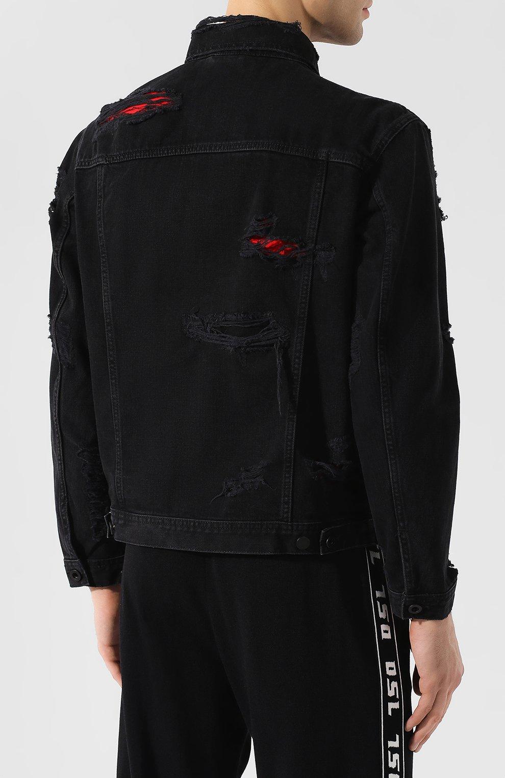 Джинсовая куртка Diesel черная | Фото №4