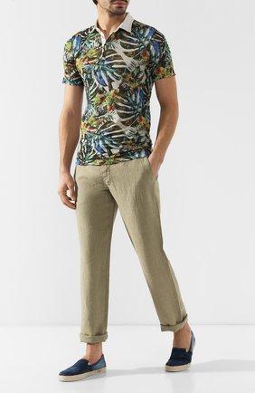 Мужской льняные брюки 120% LINO хаки цвета, арт. P0M2072/0253/001 | Фото 2