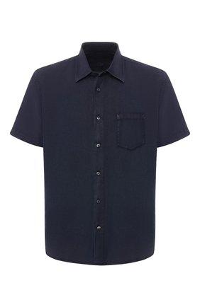 Мужская льняная рубашка с воротником кент 120% LINO темно-синего цвета, арт. P0M1368/0115/001 | Фото 1