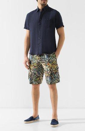 Мужская льняная рубашка с воротником кент 120% LINO темно-синего цвета, арт. P0M1368/0115/001 | Фото 2