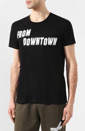 Хлопковая футболка  Diego Venturino черная | Фото №3