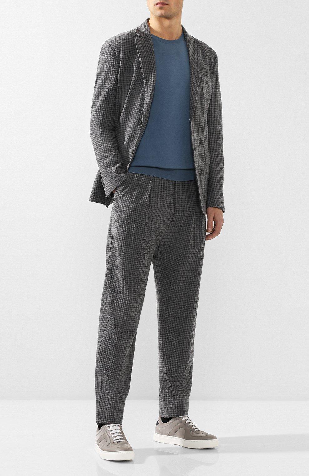 Мужские кожаные кеды  BOTTEGA VENETA серого цвета, арт. 548226/VT04V | Фото 2