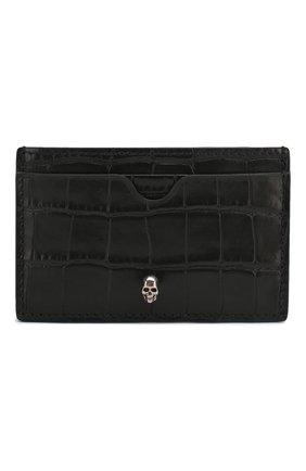 Мужской кожаный футляр для кредитных карт ALEXANDER MCQUEEN черного цвета, арт. 550855/DZT0Y | Фото 1