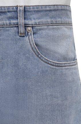 Джинсы прямого кроя Brunello Cucinelli голубые | Фото №5