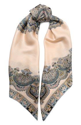 Женский шелковый платок MICHELE BINDA бежевого цвета, арт. 20036551 | Фото 1