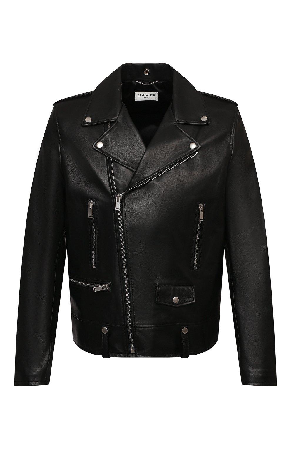 Мужская кожаная куртка SAINT LAURENT черного цвета, арт. 484284/Y5YA2 | Фото 1 (Кросс-КТ: Куртка; Рукава: Длинные; Мужское Кросс-КТ: Куртка-верхняя одежда, Верхняя одежда, Кожа и замша; Длина (верхняя одежда): Короткие; Материал подклада: Купро; Статус проверки: Проверена категория)
