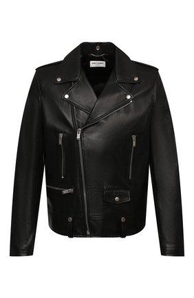 Мужская кожаная куртка SAINT LAURENT черного цвета, арт. 484284/Y5YA2 | Фото 1