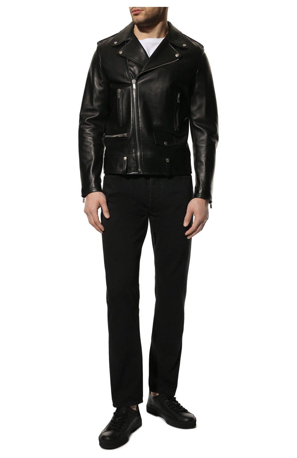 Мужская кожаная куртка SAINT LAURENT черного цвета, арт. 484284/Y5YA2 | Фото 2 (Кросс-КТ: Куртка; Рукава: Длинные; Мужское Кросс-КТ: Куртка-верхняя одежда, Верхняя одежда, Кожа и замша; Длина (верхняя одежда): Короткие; Материал подклада: Купро; Статус проверки: Проверена категория)