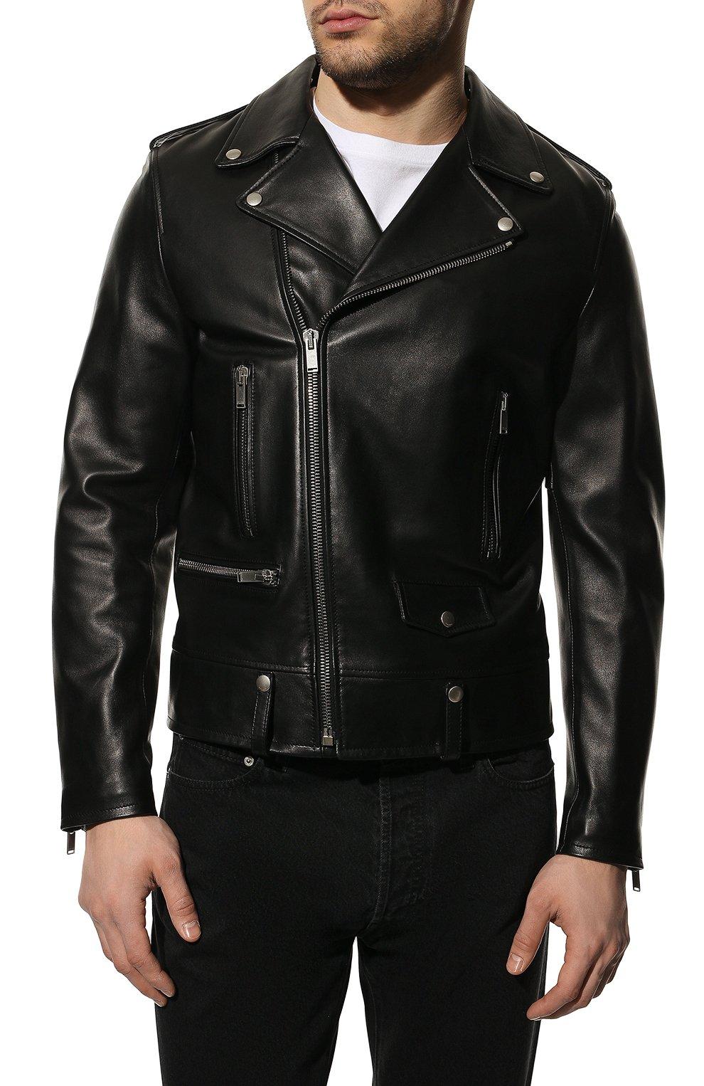 Мужская кожаная куртка SAINT LAURENT черного цвета, арт. 484284/Y5YA2 | Фото 3 (Кросс-КТ: Куртка; Рукава: Длинные; Мужское Кросс-КТ: Куртка-верхняя одежда, Верхняя одежда, Кожа и замша; Длина (верхняя одежда): Короткие; Материал подклада: Купро; Статус проверки: Проверена категория)
