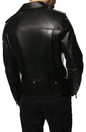 Мужская кожаная куртка SAINT LAURENT черного цвета, арт. 484284/Y5YA2 | Фото 4 (Кросс-КТ: Куртка; Рукава: Длинные; Мужское Кросс-КТ: Куртка-верхняя одежда, Верхняя одежда, Кожа и замша; Длина (верхняя одежда): Короткие; Материал подклада: Купро; Статус проверки: Проверена категория)