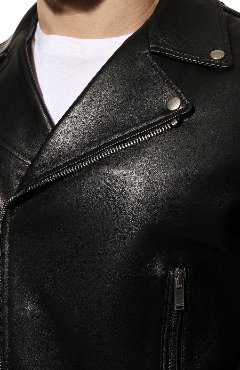 Мужская кожаная куртка SAINT LAURENT черного цвета, арт. 484284/Y5YA2 | Фото 5 (Кросс-КТ: Куртка; Рукава: Длинные; Мужское Кросс-КТ: Куртка-верхняя одежда, Верхняя одежда, Кожа и замша; Длина (верхняя одежда): Короткие; Материал подклада: Купро; Статус проверки: Проверена категория)