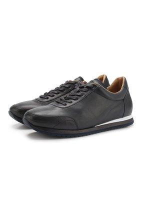 Мужские кожаные кроссовки BRIONI синего цвета, арт. QHGG0L/P8738 | Фото 1