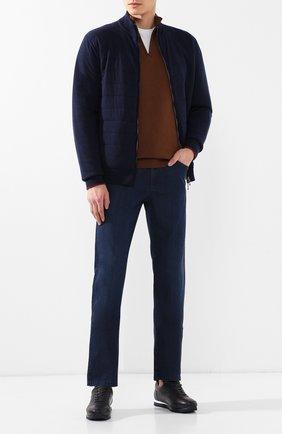 Мужские кожаные кроссовки BRIONI синего цвета, арт. QHGG0L/P8738 | Фото 2