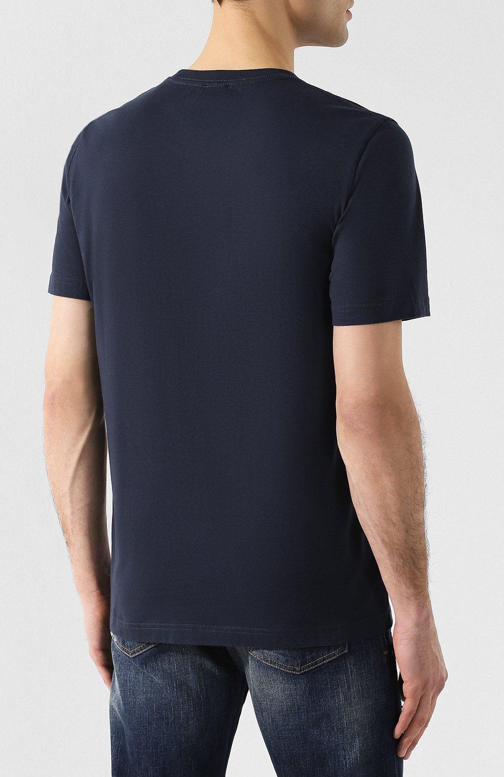Хлопковая футболка Diesel темно-синяя   Фото №4