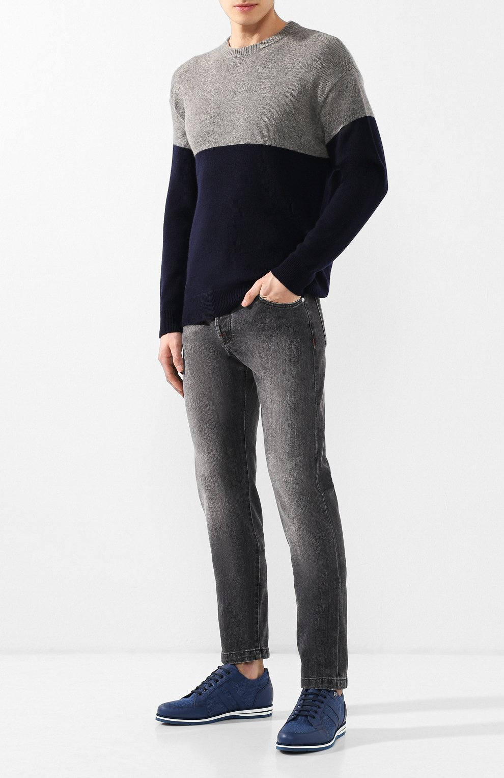 Мужские джинсы прямого кроя KITON серого цвета, арт. UPNJS/J07R53 | Фото 2