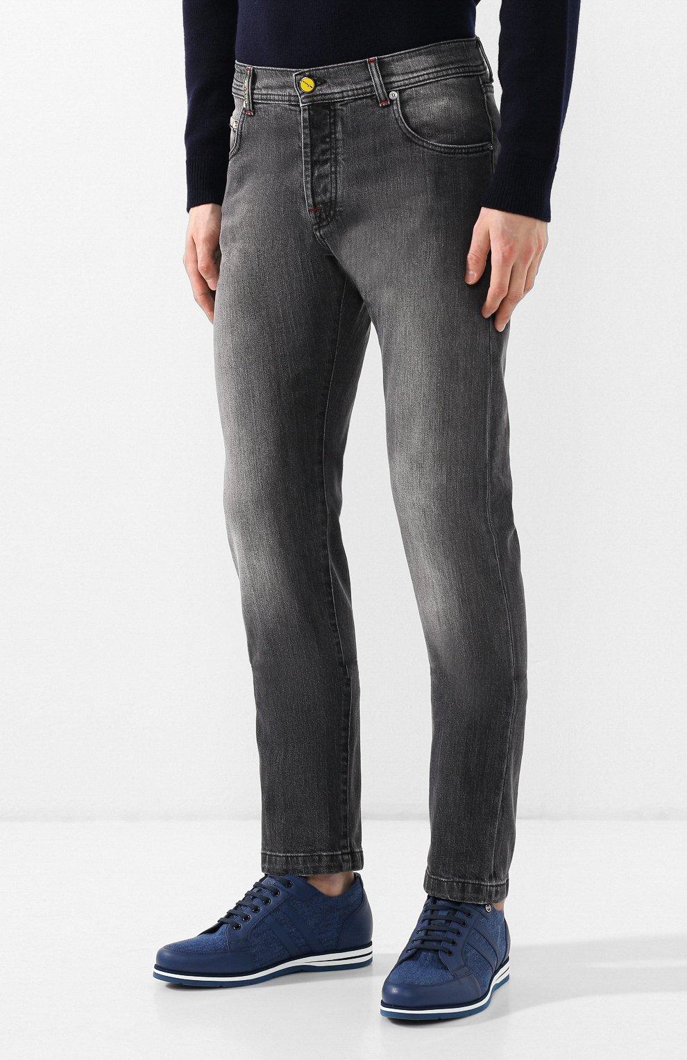 Мужские джинсы прямого кроя KITON серого цвета, арт. UPNJS/J07R53 | Фото 3