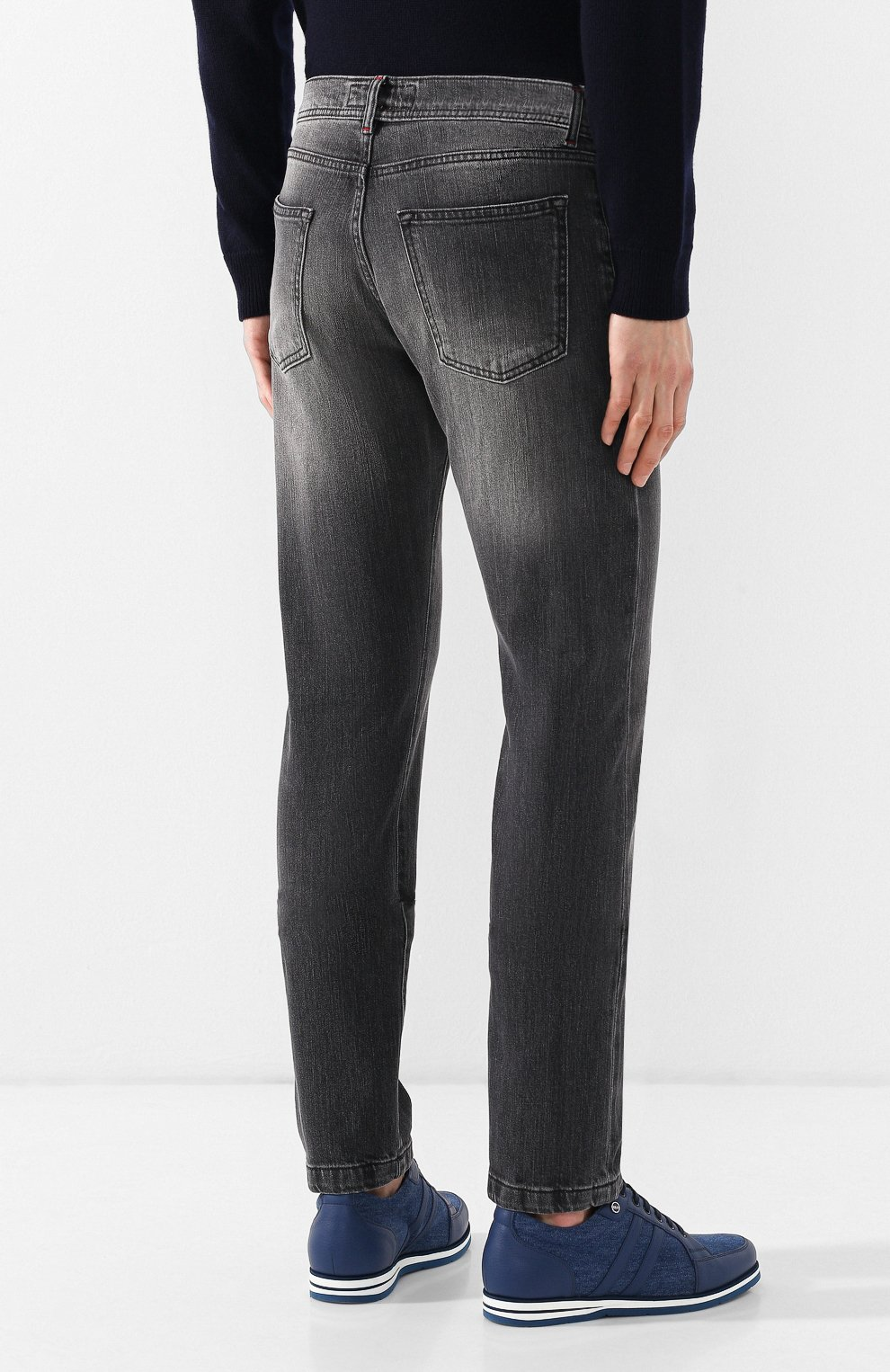 Мужские джинсы прямого кроя KITON серого цвета, арт. UPNJS/J07R53 | Фото 4