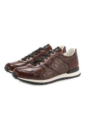 Мужские кроссовки из кожи аллигатора KITON коричневого цвета, арт. USSVLASN00102/AMIS | Фото 1