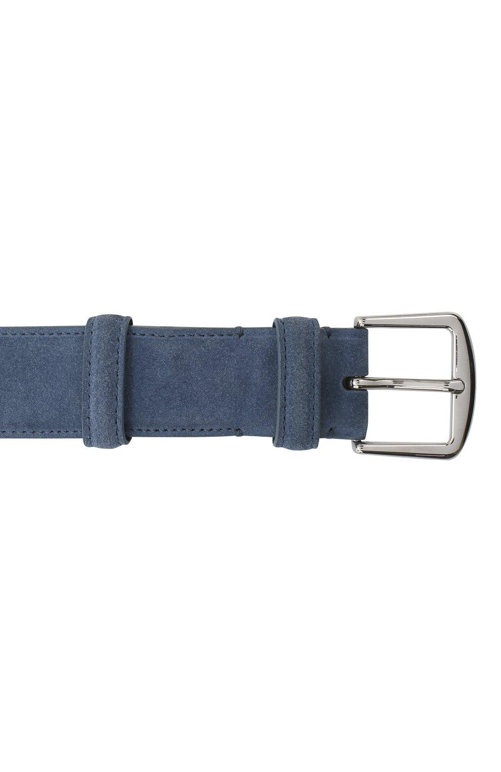 Мужской замшевый ремень LORO PIANA голубого цвета, арт. FAA1544 | Фото 3 (Случай: Повседневный)