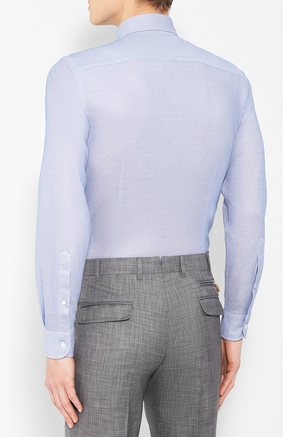 Мужская хлопковая рубашка с воротником акула LORO PIANA голубого цвета, арт. FAI0966 | Фото 4