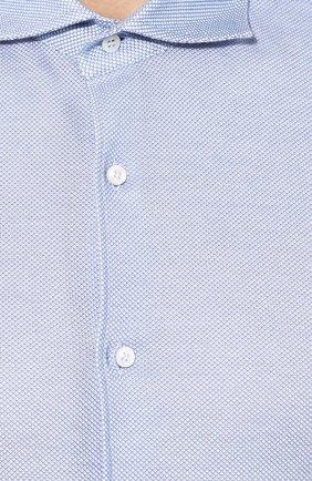Мужская хлопковая рубашка с воротником акула LORO PIANA голубого цвета, арт. FAI0966 | Фото 5