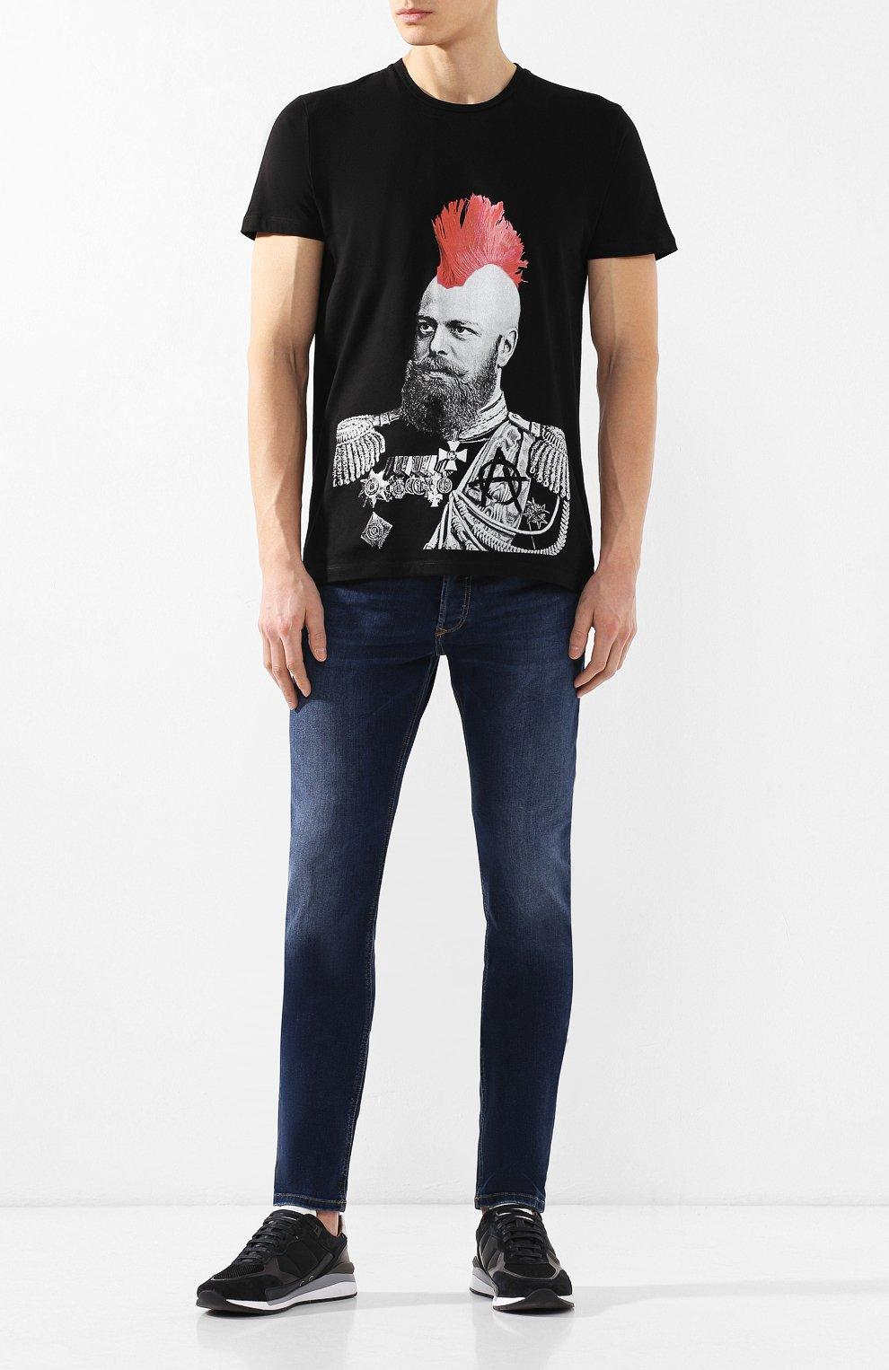 Хлопковая футболка  Diego Venturino черная   Фото №2