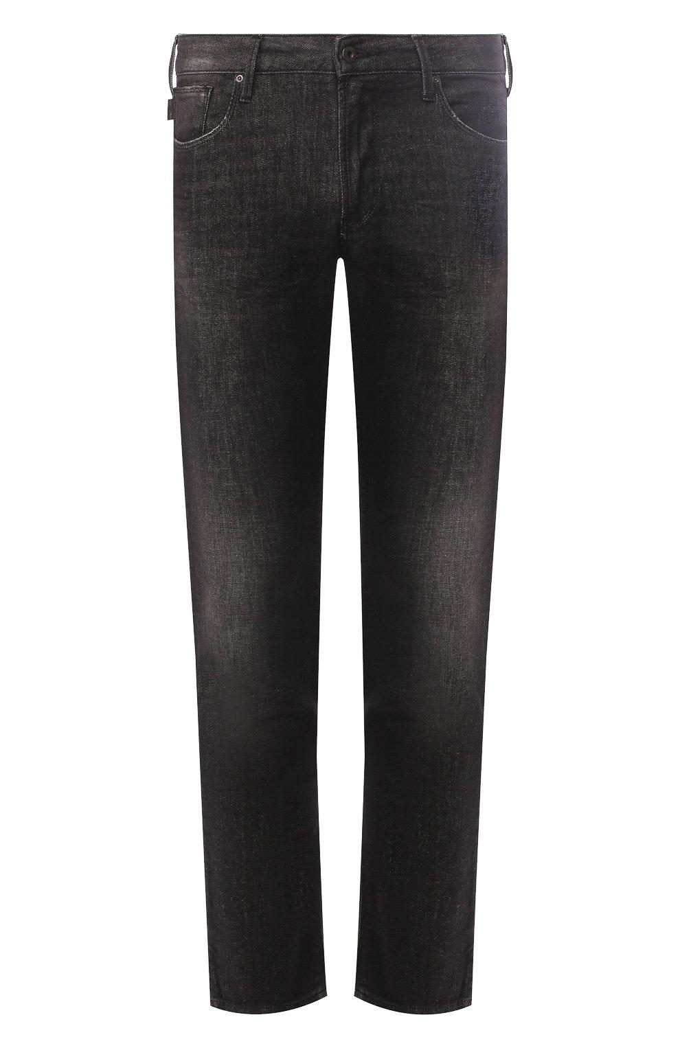 Мужские джинсы прямого кроя EMPORIO ARMANI серого цвета, арт. 8N1J06/1DT5Z | Фото 1 (Силуэт М (брюки): Прямые; Длина (брюки, джинсы): Стандартные; Материал внешний: Хлопок)