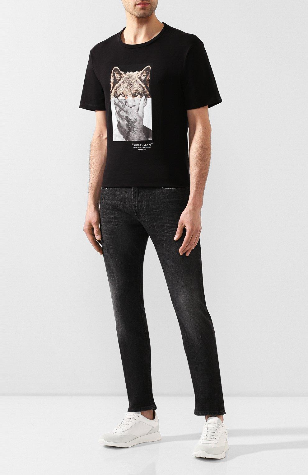 Мужские джинсы прямого кроя EMPORIO ARMANI серого цвета, арт. 8N1J06/1DT5Z | Фото 2 (Силуэт М (брюки): Прямые; Длина (брюки, джинсы): Стандартные; Материал внешний: Хлопок)