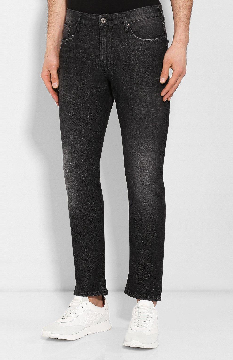 Мужские джинсы прямого кроя EMPORIO ARMANI серого цвета, арт. 8N1J06/1DT5Z | Фото 3 (Силуэт М (брюки): Прямые; Длина (брюки, джинсы): Стандартные; Материал внешний: Хлопок)