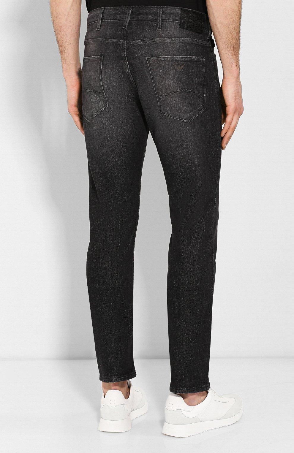 Мужские джинсы прямого кроя EMPORIO ARMANI серого цвета, арт. 8N1J06/1DT5Z | Фото 4 (Силуэт М (брюки): Прямые; Длина (брюки, джинсы): Стандартные; Материал внешний: Хлопок)
