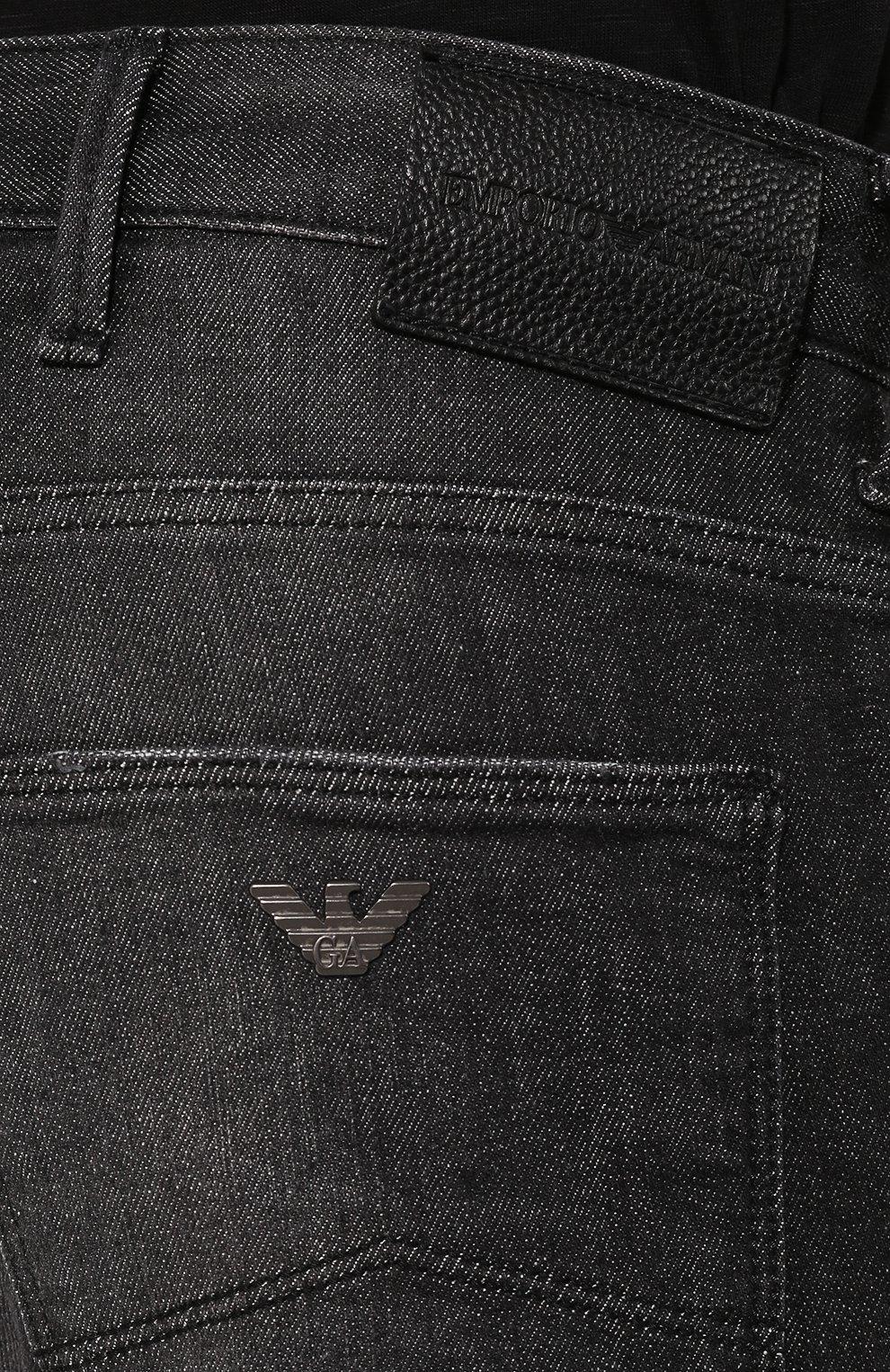 Мужские джинсы прямого кроя EMPORIO ARMANI серого цвета, арт. 8N1J06/1DT5Z | Фото 5 (Силуэт М (брюки): Прямые; Длина (брюки, джинсы): Стандартные; Материал внешний: Хлопок)