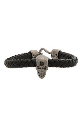 Мужской кожаный браслет ALEXANDER MCQUEEN черного цвета, арт. 554602/J16KB | Фото 1