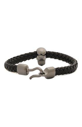 Мужской кожаный браслет ALEXANDER MCQUEEN черного цвета, арт. 554602/J16KB | Фото 2