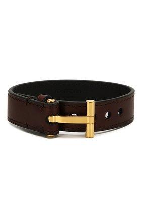 Мужской кожаный браслет TOM FORD темно-коричневого цвета, арт. JM0002T-CALBR   Фото 1