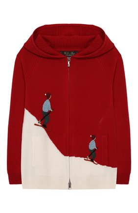 Кашемировый кардиган с капюшоном Loro Piana красного цвета | Фото №1
