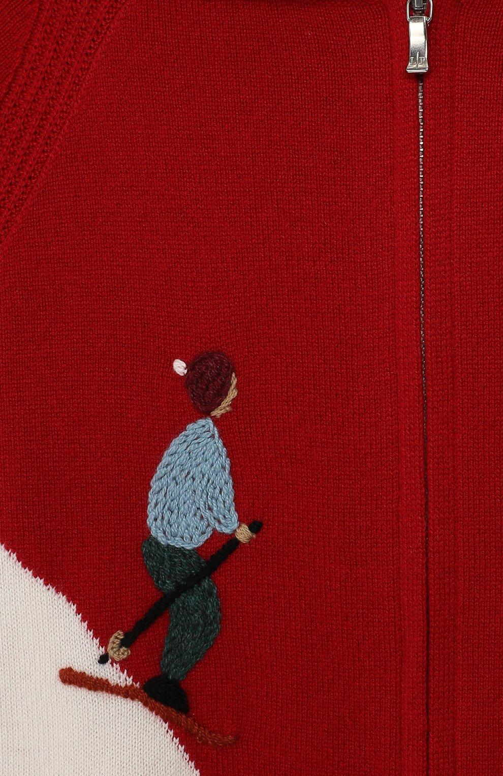 Кашемировый кардиган с капюшоном Loro Piana красного цвета | Фото №3