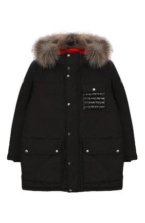 Пуховая куртка с меховой отделкой   Фото №1