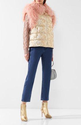 Женский пуховый жилет DOLCE & GABBANA золотого цвета, арт. I9319W/FJMU6 | Фото 2