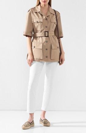 Женские текстильные эспадрильи gg supreme GUCCI светло-коричневого цвета, арт. 505917/9N010 | Фото 2