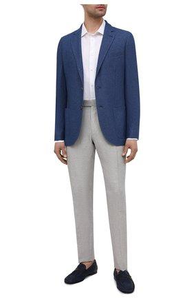Мужской пиджак из смеси шелка и кашемира LORO PIANA синего цвета, арт. FAI2572 | Фото 2