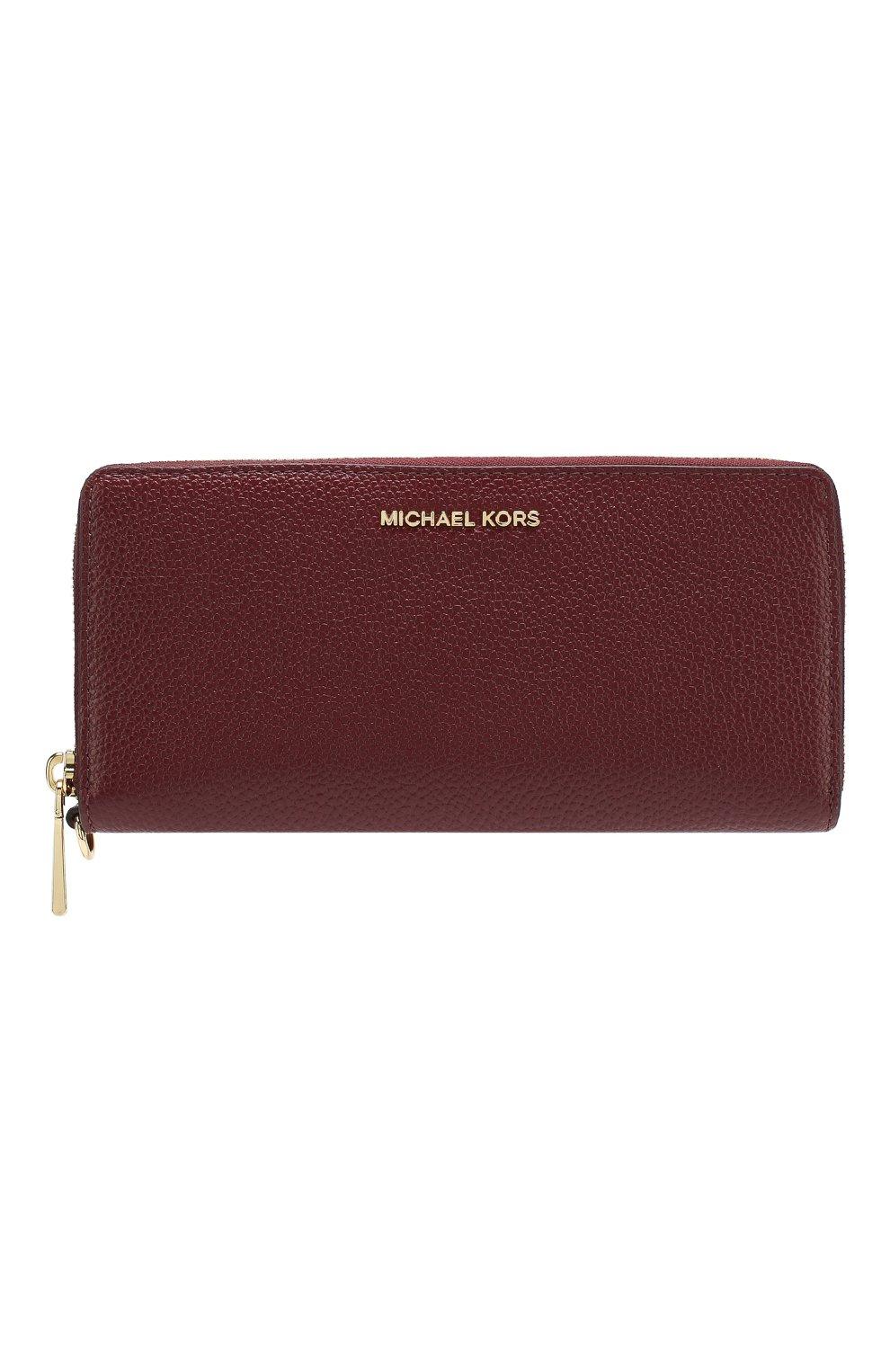 d96766b8dcab Кожаный кошелек на молнии MICHAEL Michael Kors бордового цвета | Фото №1