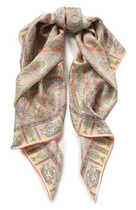 Женский шелковый платок MICHELE BINDA кораллового цвета, арт. 21528131 | Фото 1