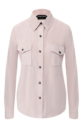 Женская кожаная рубашка TOM FORD светло-розового цвета, арт. CAL534-LEX209 | Фото 1
