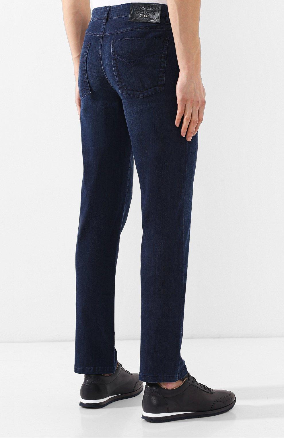 Мужские джинсы прямого кроя ZILLI темно-синего цвета, арт. MCR-00052-DEUL1/R001 | Фото 4