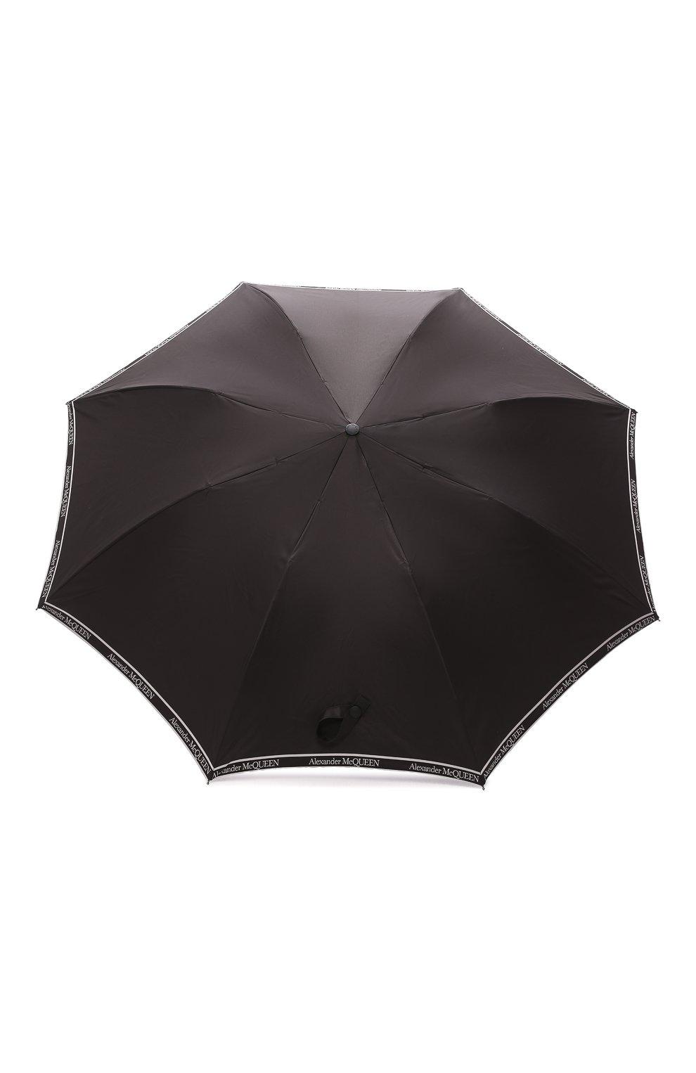 Мужской складной зонт ALEXANDER MCQUEEN черно-белого цвета, арт. 557708/4A37Q   Фото 1 (Материал: Текстиль)