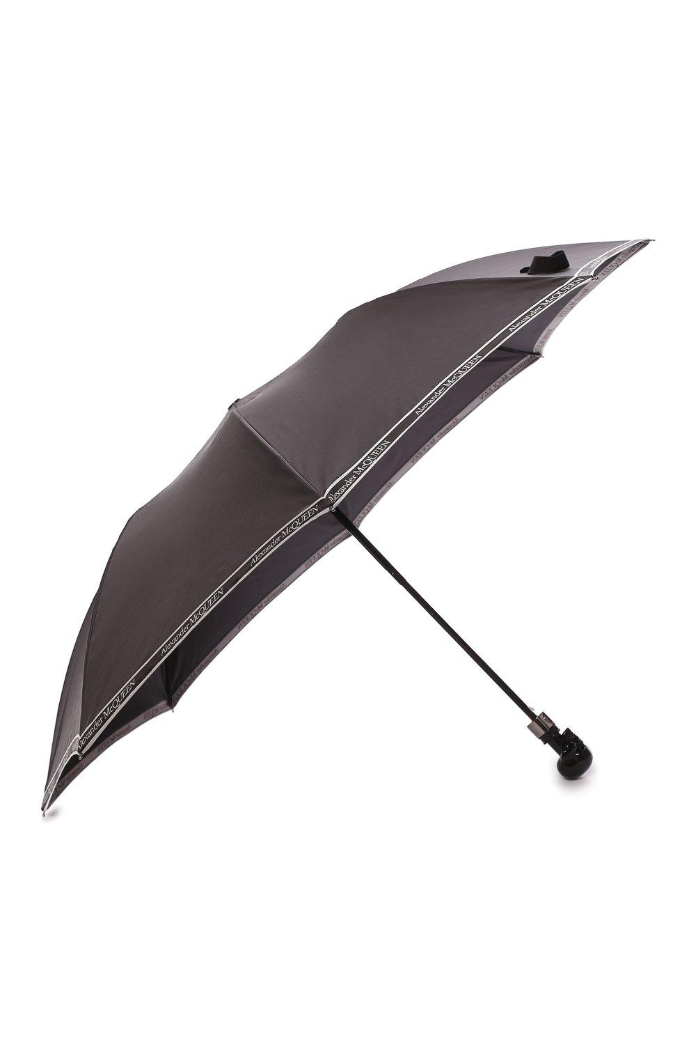 Мужской складной зонт ALEXANDER MCQUEEN черно-белого цвета, арт. 557708/4A37Q   Фото 2 (Материал: Текстиль)