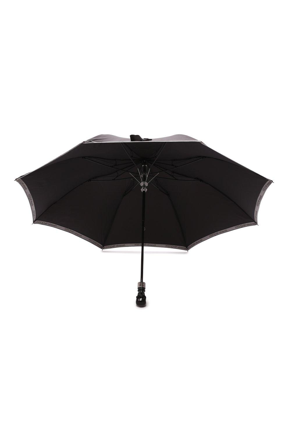Мужской складной зонт ALEXANDER MCQUEEN черно-белого цвета, арт. 557708/4A37Q   Фото 3 (Материал: Текстиль)
