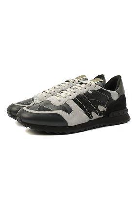 Мужские комбинированные кроссовки rockrunner camouflage VALENTINO темно-серого цвета, арт. RY2S0723/XVU | Фото 1