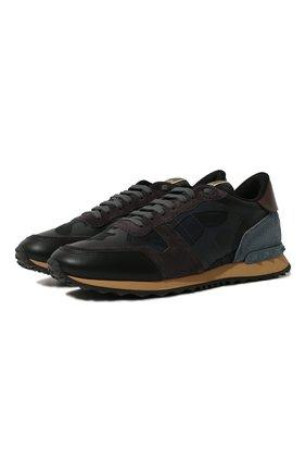 Мужские комбинированные кроссовки rockrunner camouflage VALENTINO темно-синего цвета, арт. RY2S0723/TCC   Фото 1