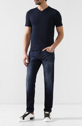 Мужская хлопковая футболка CRUCIANI темно-синего цвета, арт. CUJ0SB.V30 | Фото 2